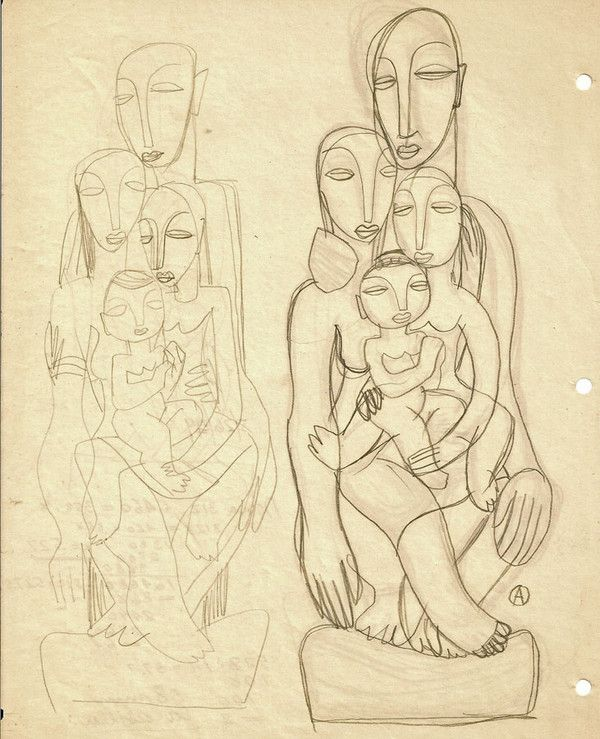 The Human Family I Adolf Odorfer Graphite on paper 28 x 21.5 cm.