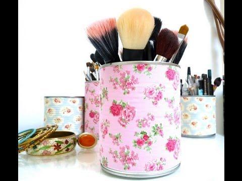 DIY : Recycler Vos Boîtes de Conserve - Rangement Make up - Make up storage - YouTube