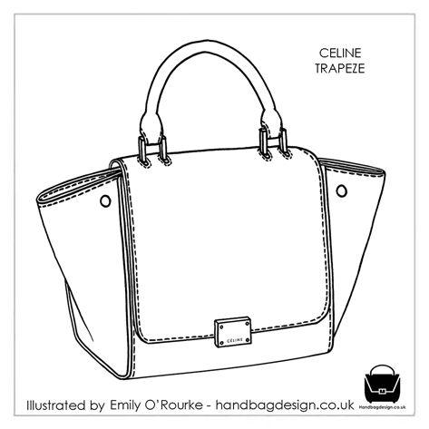 CELINE - TRAPEZE BAG - Designer Handbag Illustration / Sketch / Drawing / CAD / Borsa Disegno