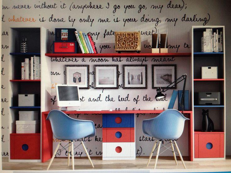 Una solucion con dos zonas de estudio. Mueble fabricado en DM lacado con mas de 20 colores para elejir.