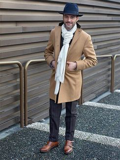 チェスターで冬の究極エレカジを。ストールと靴で、さらにハットを加えて微調整!