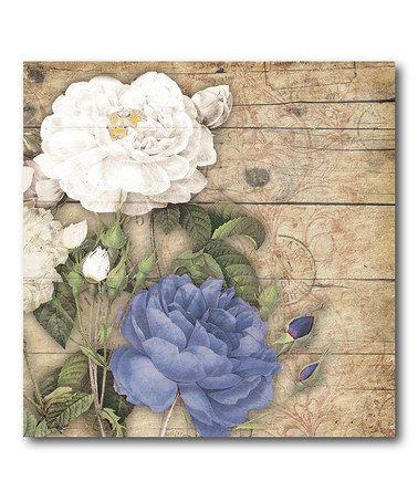 White & Purple Floral I Canvas #zulily #zulilyfinds