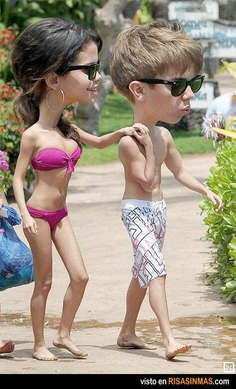 Caricatura de Selena Gómez y Justin Bieber.