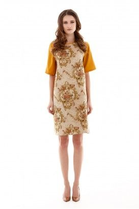 Earthy Floral Brocart Dress