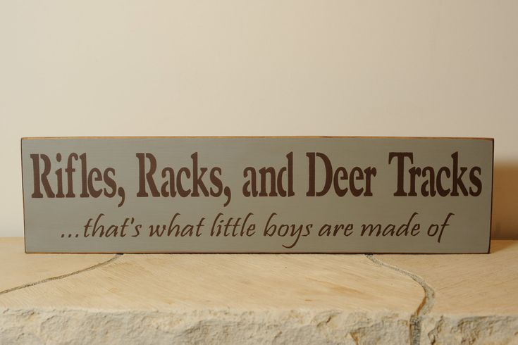 Rifles, Racks, And Deer Tracks hunting sign. $20.00, via Etsy.