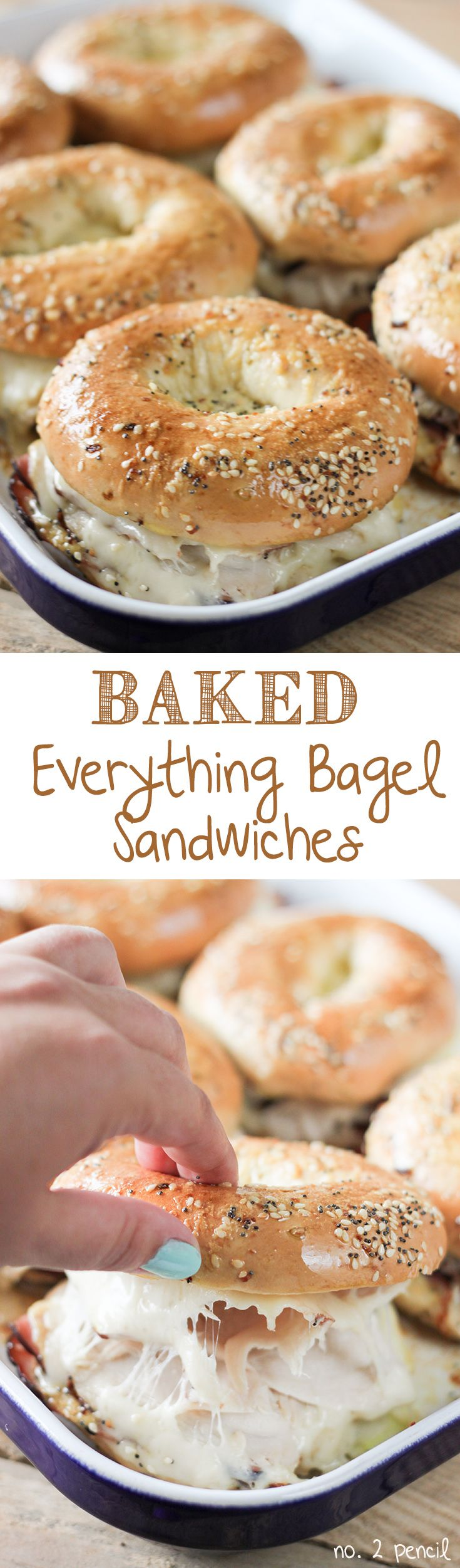 Baked Ham and Turkey Everything Bagel Sandwiches @thomasbreads                                                                                                                                                     More