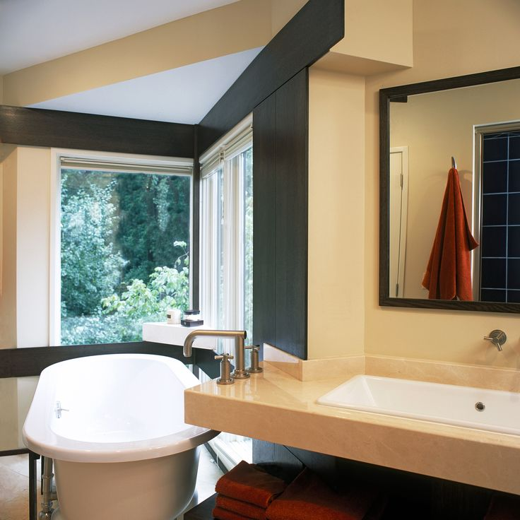 Donald Lococo Architects // #wedgehouse A geometric bathroom for an angular home. #modern #bathroom #remodel #architecture