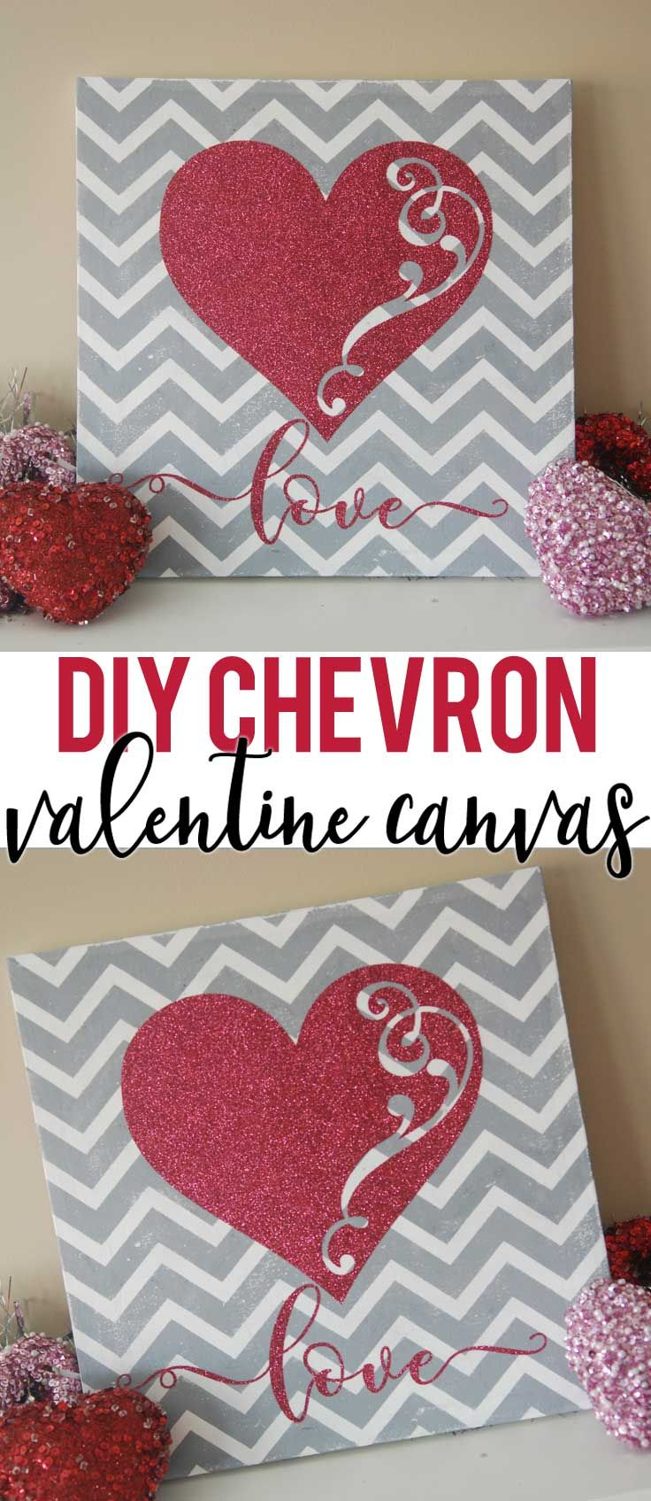 Make this chevron Valentine canvas with your SIlhouette or Cricut cutter. Check out the tutorial and download the Free Valentine SVG file!