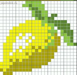 Lemon pattern / chart for cross stitch, knitting, knotting, beading, weaving, pixel art, and other crafting projects.
