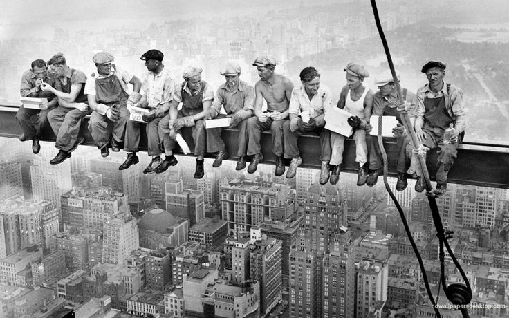 CharlesC. Ebbets :: '  Lunch atop a Skyscraper' / Construction workers eat their lunches atop a steel beam 800 feet above ground, at the building site of the RCA Building in Rockefeller Center, NYC, 20 Sep 1932more [+] by this photographer