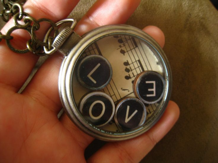 """Steampunk Pocket Watch, """"Music is Love"""", with 4 Typewriter Keys Spelling """"Love"""" and Mozart's Sonata, """"Make Time for Love"""" NecklaceOOAK. $38.00, via Etsy."""