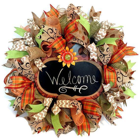 Fall Burlap Wreath Pumpkin Chalkboard, Fall Front Door Wreath, Fall  Mesh Wreath, Everyday Wreath, Year Round Wreath