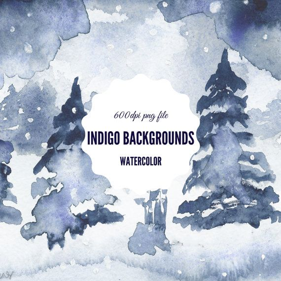 WINTER WONDERLAND Indigo watercolor background by theartcitizen