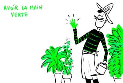 """avoir la main verte: être habile à cultiver les plantes (tener mano con las plantas) exemple: «Une femme dont les """"mains vertes"""" paraissaient avoir le don de faire pousser n'importe quoi n'importe où» (Tournier). #expressions #idiomatiques"""