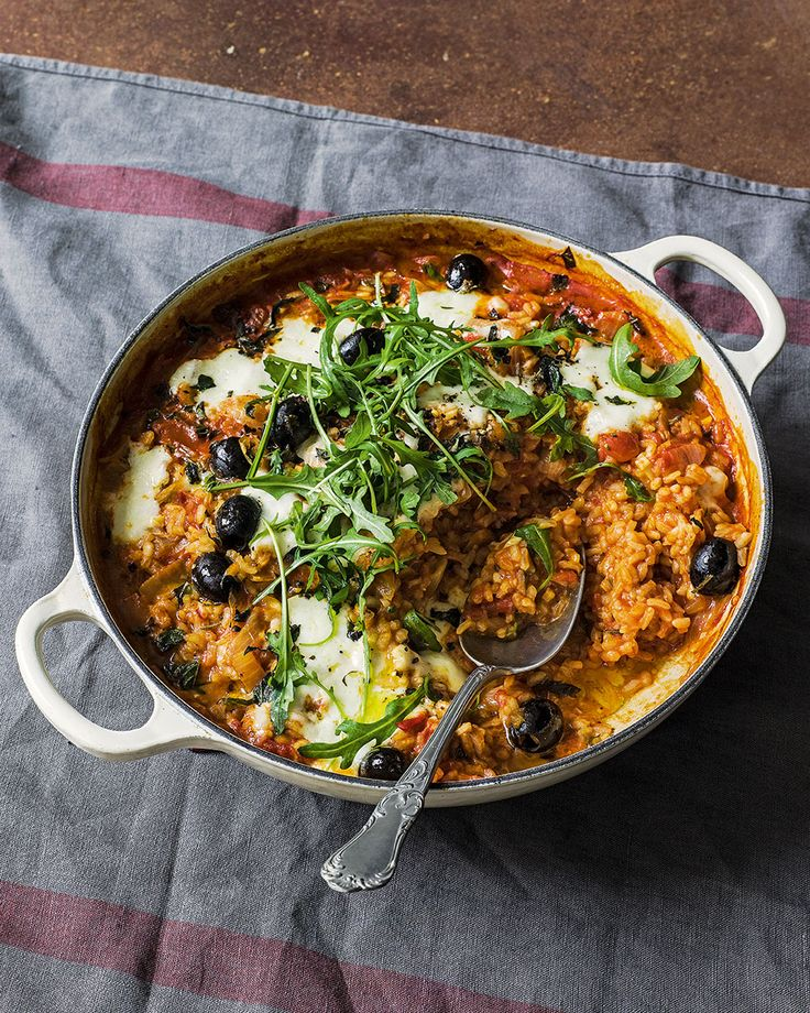 Tomato, olive and mozzarella rice - sauté 1 onion, 1 clove garlic, 1tsp smoked paprika, 2tsps oregano, 1/2tbsp tomato puree, 1/3rd cup arborio, 1 1/2 times stock, 1/2 tin toms, olives - oven 20m. Add goats cheese, mozzarella or feta