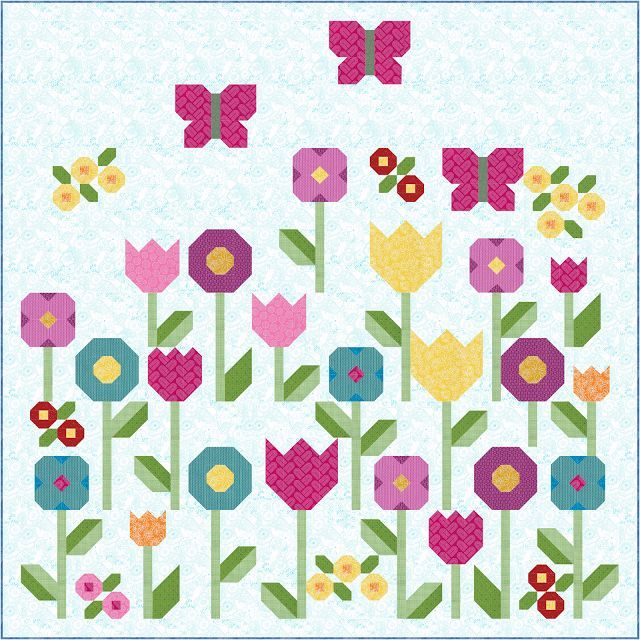 Цветы {делают меня счастливым!} | Шить Fresh Одеяла | Bloglovin '