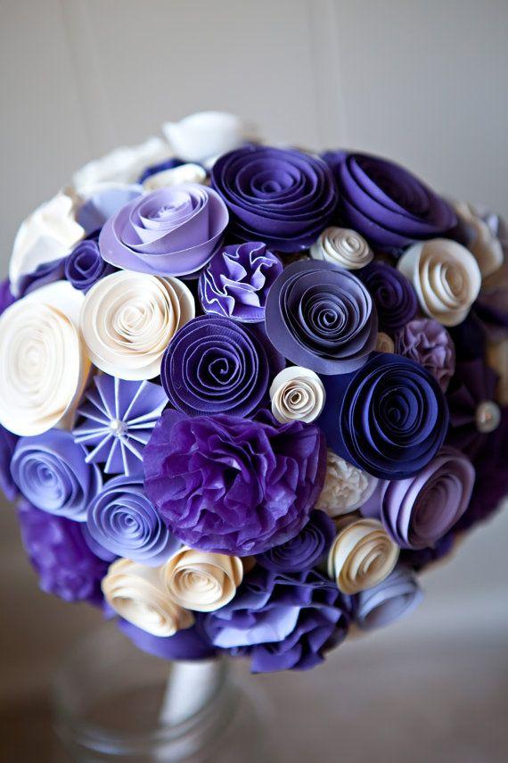 Tissue / Paper Wedding Bouquet 6 Inch Diameter by BSideDesign