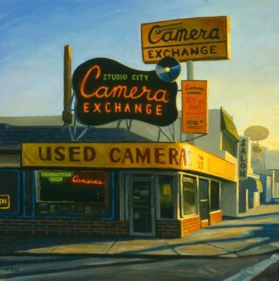 "Tony Peters, ""Studio City Camera Exchange"", 30 x 30 inches, oil on canvas. www.tonypetersart.com"