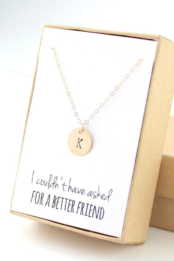 "Tiny Initial Necklace  Gold Initial Necklace  by powderandjade ""I couldn't have asked for a better friend"""