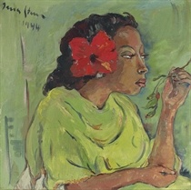 IRMA STERN (1894-1966)   Malay Girl with Hibiscus  oil on canvas