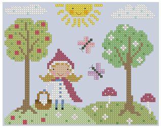 Little Red Riding Hood Cross Stitch por Theflossbox en Etsy