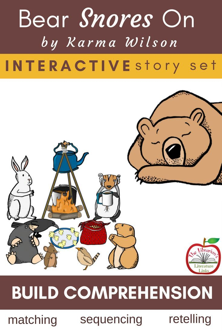 Use these activities for Bear Snores On, by Karma Wilson. Build comprehension with your kindergarten through second grade students through retelling, sequencing, and writing. Click here for more information on these lessons.