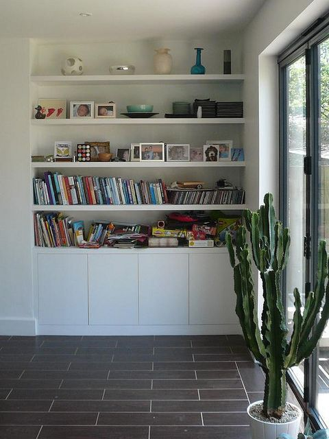 Cupboards with floating shelves by Peter Murphy Carpentry, via Flickr