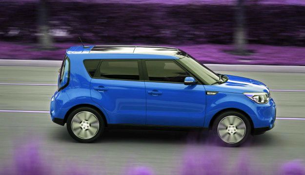 OK, not fancy, but it has everything I need in a car, smallish, lots of cargo room, decent gas mileage and a sunroof!  Kia Soul 2014, the hamster car!