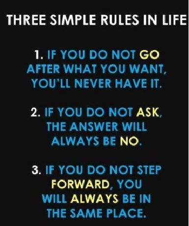 Three Simple Rules in Life: #1 If you do not go after what you want, you'll never have it. #2 If you do not ask, the answer will always be no. #3 If you do not step forward, you will always be in the same place.