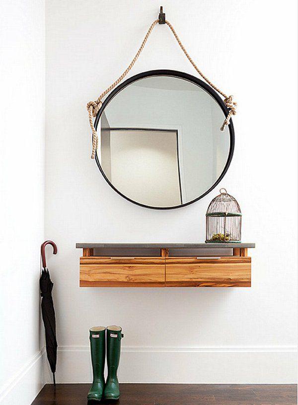 meuble console d' entrée, design flottant, miroir rond