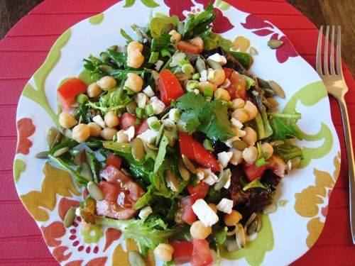 Salad with Cilantro Lime Dressing...i am hoping tis is like el burrito's fabulous dressing. I will let you know.