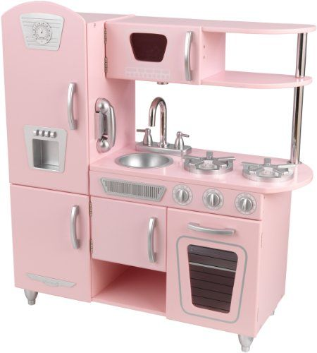 Your little chef will love cooking in the Pink KidKraft Vintage Kitchen. Kids ages three and up can pretend to whip up all kinds of new concoctions using the refrigerator, microwave, stove, oven, and sink. The kitchen's durable design and moving parts will keep your child entertained, even as it stands up to rough play.Kids pretend they are cooking big feasts for the whole family. View larger.Doors open and close.Removable sink.Knobs click and turn.Kid-Friendly SizeThe KidKraft Vintage…