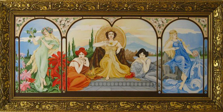 """Five elements"", oil painting, size 150x70cm. This painting was inspired by Alfons Mucha. Oil Paintings by Alexey Volgutskov."