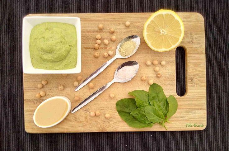 Spenótos humusz (gluténmentes, laktózmentes, tojásmentes, vegán) / Recept / spenót, csicseriborsó, tahini szósz, olívaolaj, fokhagyma, citrom