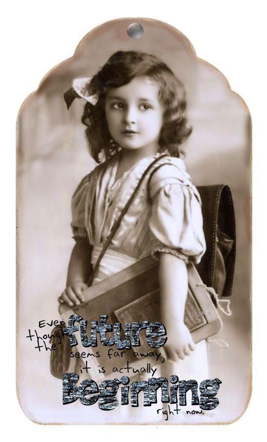 Brocante Brie, vintage label schoolmeisje