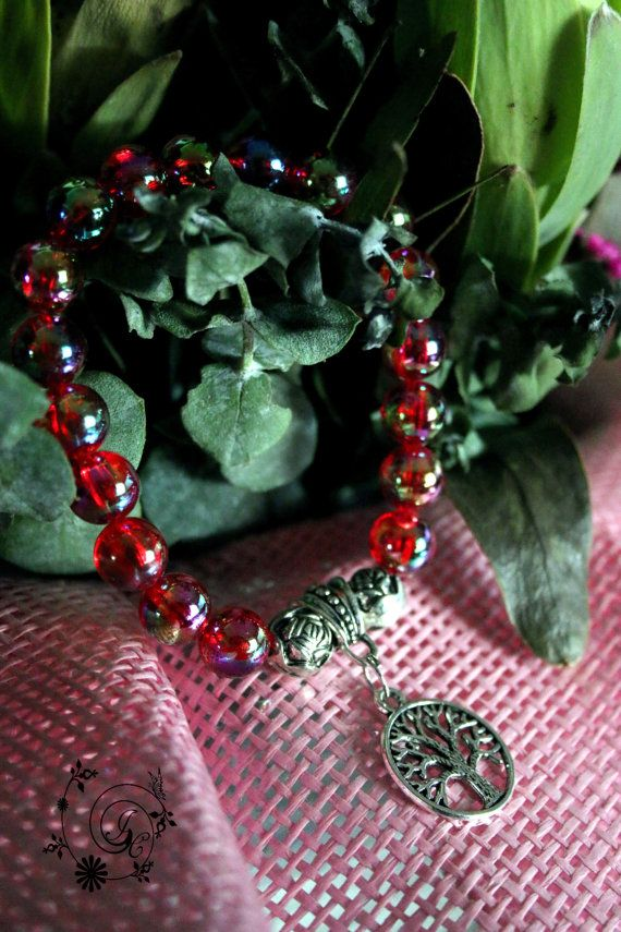 Red Acrylic Beads with Tree of Life Charm by DelightGalleryCrafts