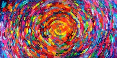 """Saatchi Art Artist Soos Tiberiu; Painting, """"Gypsy Skirt Rounded V - 200x100 cm - XXXL Large Modern Abstract Big Painting - Ready to Hang, Office, Hotel and Restaurant Wall Decoration"""" #art"""