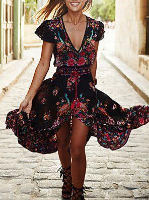 Swing Robe Femme Sortie / Plage Vintage,Fleur V Profond Maxi Manches Courtes Noir Polyester Eté / Automne Taille Normale Micro-élastique