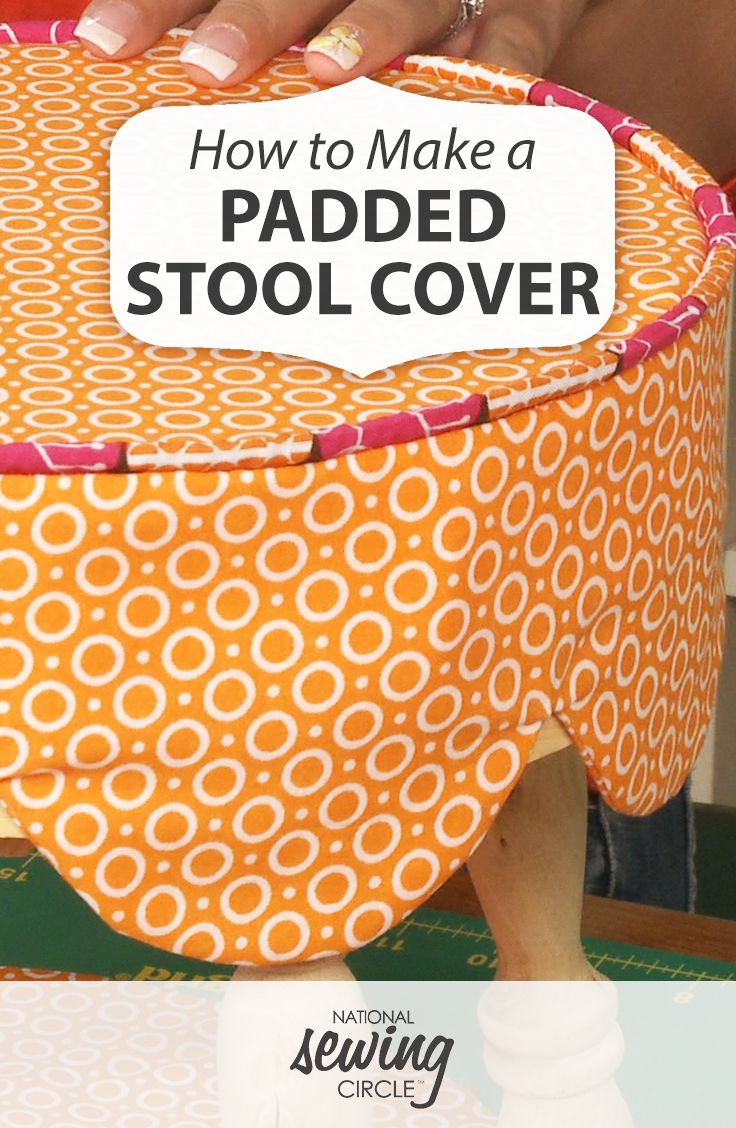 Adding a cover to a stool is a great way to customize it and add color to a room. Learn how to make a seat cover with coordinating piping and a fun scalloped edge.