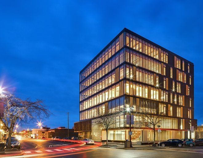 The Wood Innovation and Design Centre in British Columbia; the 97-foot-tall building by MGA is the world's tallest all-timber office building, ...