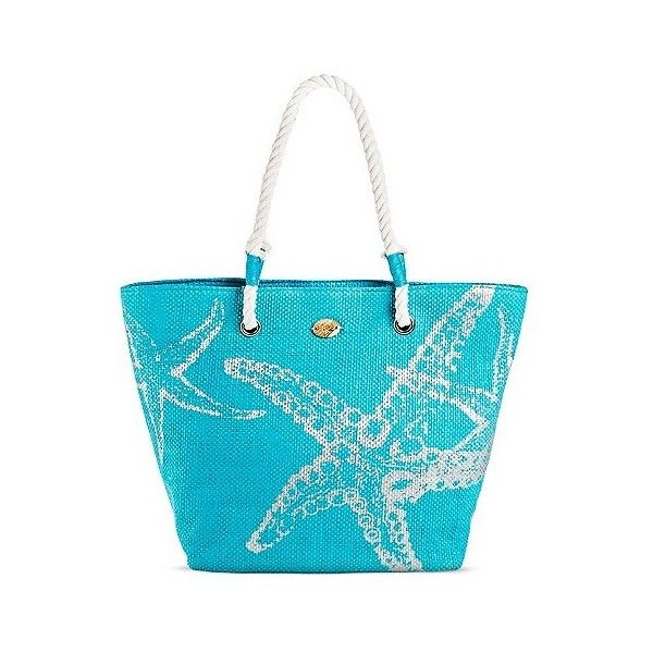 Cappelli Straworld Women's Tote Handbag with Starfish Print and Zip... ($18) ❤ liked on Polyvore featuring bags, handbags, tote bags, turquoise, blue purse, man bag, turquoise purse, handbags purses and purse tote