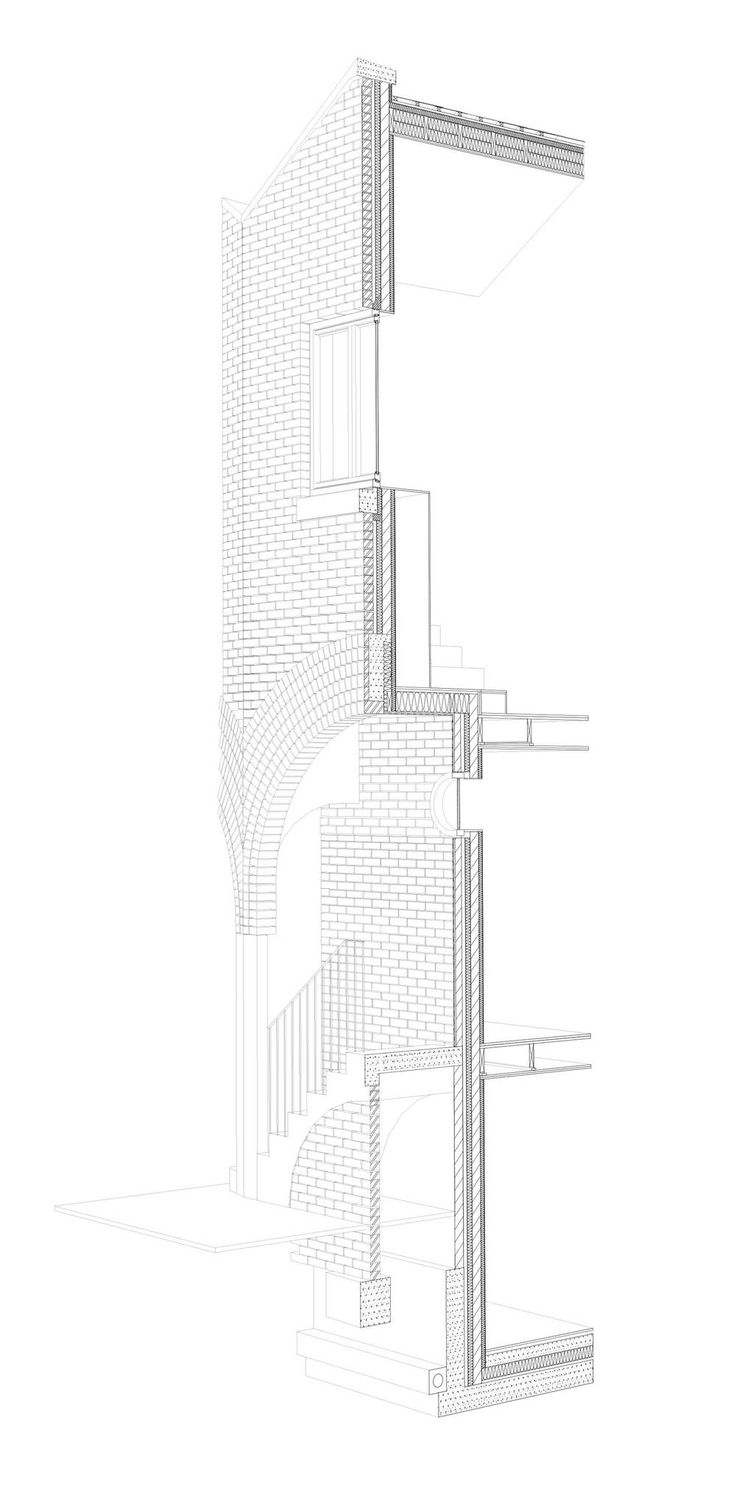 Stapleton Hall Road, London N4 Stephen Taylor Architects Perspective section illustration relationship between ordinary and extrordinary construction