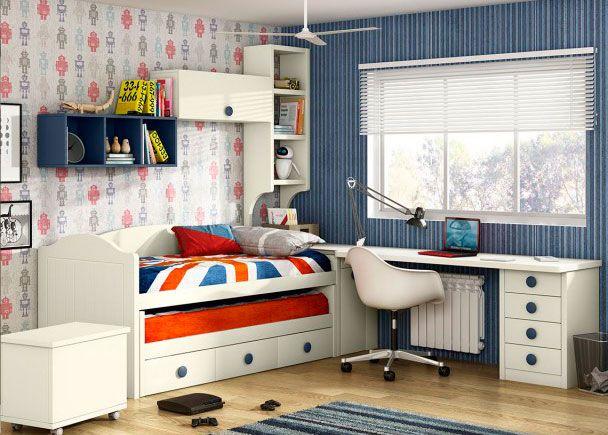Habitación Infantil: Dormitorio juvenil con compacto bicama | Camas deslizantes con arcón de dos cajones, módulo con cajones, elementos colgantes, escritorio y