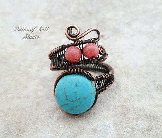 Filo di rame avvolto anello / monili di boho di PillarOfSaltStudio