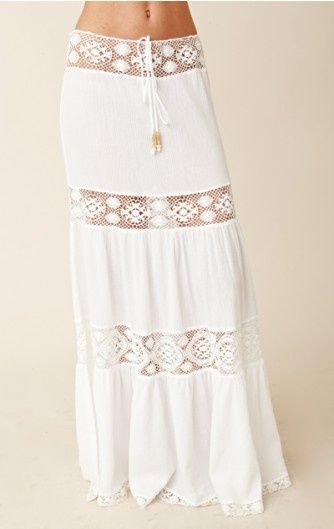 "Prefect for sexy summers, chic belly dancing moods or just because. The simplicity, and mix of lace offer just a hint of personality , while providing ample opportunity for accessorizing. ""long hippie skirt"""