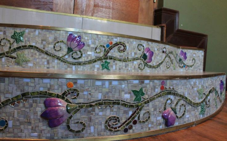 Stairs for a client - view two .... made with beautiful ceramic flowers and leaves