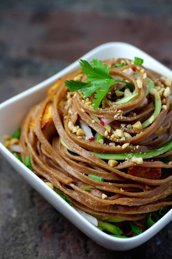 Thai Red Rice Noodles with Stir-Fried Tempeh and Savory Peanut Sauce {Vegan}