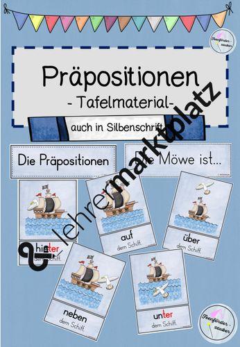 Tafelmaterial Präpositionen / Lagebeziehungen