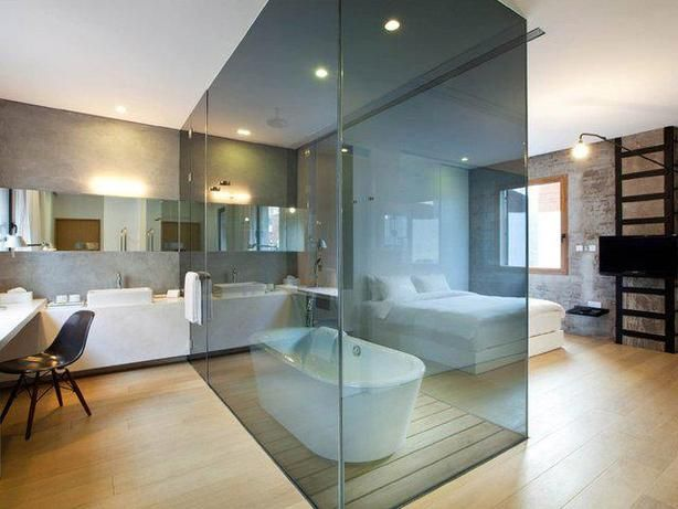 Glass partition wall design ideas and room dividers separating modern bedrooms from bathrooms - Partition kamer ...