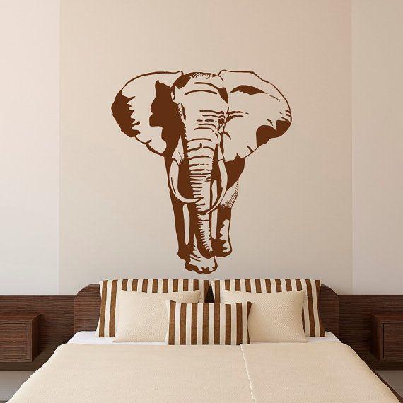 Elefante Sticker Decal Stickers-africano animali sticker murale - elefante africano Wall Decal camera da letto soggiorno Safari nella giungla parete Art Decor C112